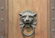 Large Lion Head Door Knocker on Wood Door Background Stock Image