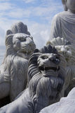Large lion statues. Carved from marble, Hoi An, Vietnam stock image