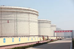 Large liquid storage tanks Stock Images