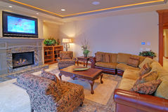 Large Living Room. Luxurious Living Room with LCD TV Stock Images