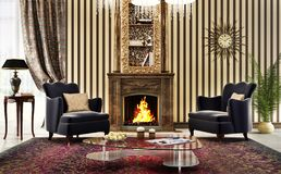 Large living room in classic style with fireplace and armchairs stock photography