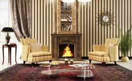 Large living room in classic style with fireplace and armchairs royalty free stock image