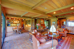 Large living room on the horse ranch Stock Image