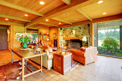 Large living room on the horse ranch Royalty Free Stock Photos
