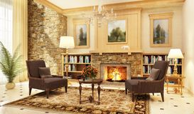 Large living room interior design with fireplace and armchairs. And library stock photography
