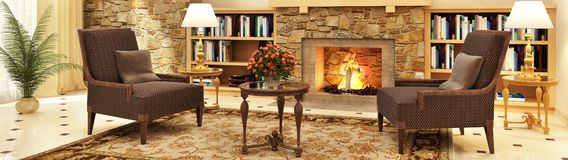 Large living room interior design with fireplace and armchairs. And library stock photo