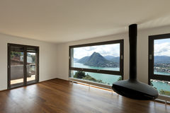 Large living room with panoramic view Royalty Free Stock Photography