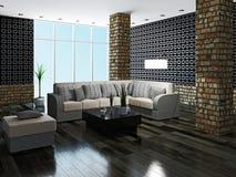 Large livingroom. With brick column Stock Photo