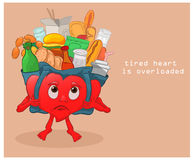 Large load on the heart. Burdened with a load of excess food is the heart and can not move royalty free illustration