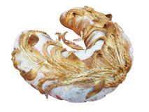 Large loaf of bread with nice decoration isolated on white Royalty Free Stock Images