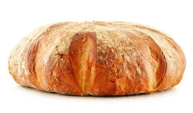 Large loaf of traditionally baked bread on white Stock Image