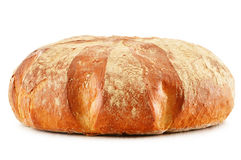 Large loaf of traditionally baked bread on white Royalty Free Stock Photos
