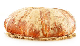 Large loaf of traditionally baked bread on white Royalty Free Stock Photography