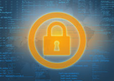 Large lock icon on abstract background of computer Royalty Free Stock Photos