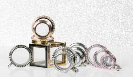 Large Lockets against a glitter background Royalty Free Stock Image