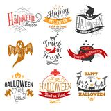 Large logo set of Happy Halloween eerie designs. With various texts decorated with pumpkins bats ghosts zombie in orange and black on white. All Hallows Eve vector illustration