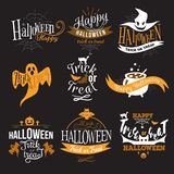 Large logo set of Happy Halloween eerie designs. With various texts decorated with pumpkins bats ghosts zombie in orange and black on dark. All Hallows Eve royalty free illustration