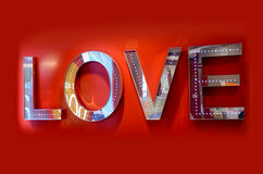 Large LOVE display sign Royalty Free Stock Images