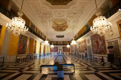 Large luxurious hallway. Large room with ornate decorations in the Christiansborg Palace Royalty Free Stock Photos