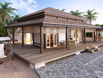 Large luxury bungalows on the islands. Royalty Free Stock Images