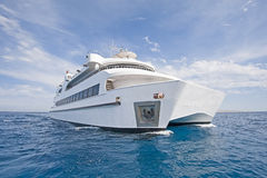 Large luxury catamaran at sea Royalty Free Stock Photos