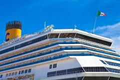 Large luxury cruise ship Costa Magica docked at Lisbon. LISBON, PORTUGAL - SEPTEMBER 14 . 2017 . Large luxury cruise ship Costa Magica docked at Lisbon Stock Images