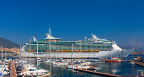 Large luxury cruise ship Mariner of the Seas is docked in Ajaccio port. Corsica, France. Stock Image