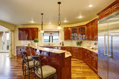 Large luxury kitchen with marble counters. Royalty Free Stock Images