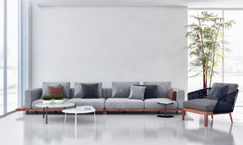 Large luxury modern bright interiors apartment Living room illus. Tration 3D rendering computer generated image royalty free illustration