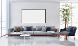 Large luxury modern bright interiors apartment with mock up post. Er frame illustration 3D rendering computer generated image vector illustration