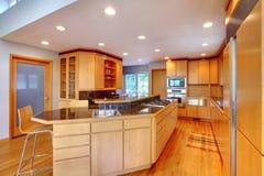 Large luxury modern wood kitchen . Stock Images