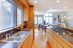 Large luxury modern wood kitchen . Royalty Free Stock Photos