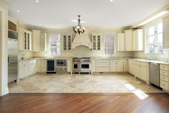 Large luxury new construction kitchen Stock Photos