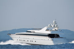 Large luxury private yacht at sea. Royalty Free Stock Images