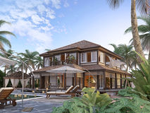 Large luxury villa on oceanic islands. Stock Images