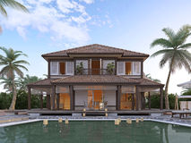 Large luxury villa on oceanic islands. Two-storey villa with large windows and a balcony. 3D render royalty free stock image