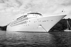 Large luxury white cruise ship liner at Fowey Royalty Free Stock Photo