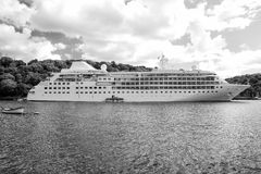 Large luxury white cruise ship liner at Fowey Stock Photography