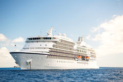 Large luxury white cruise ship liner at sea Stock Photo