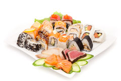 Large made dish of sushi Royalty Free Stock Images