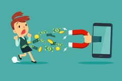 Large magnet from smart phone screen attract money from a businesswoman. Hand holding large magnet from smart phone screen attract money from a businesswoman vector illustration