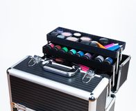 Large makeup case. Big professional makeup container with containers tubes lipsticks eyeshades Royalty Free Stock Photography