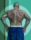 Large male athlete view from the back Stock Images