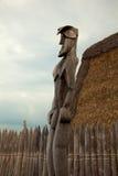 Large Male Tiki Statue. Wooden tiki Puuhonua o Honaunau National Historical Park, Big Island Hawaii royalty free stock images