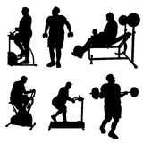 Large Man Excercise Silhouettes. A set of Large Man Excercise Silhouettes in various poses Stock Photos