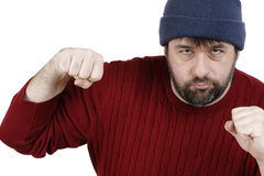 Large man ready to punch Stock Photos