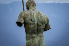Large man statue in Pompei park. stock photo