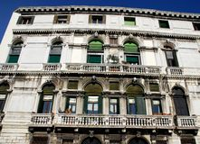 A large mansion with two large balconies in Venice in Italy Stock Image