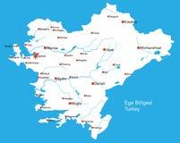 Large map of Ege Bölgesi. Large map of the turkish area of Ege Bölgesi Stock Photo