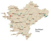 Large map of Ege Bölgesi. Large map of the turkish area of Ege Bölgesi Stock Photos